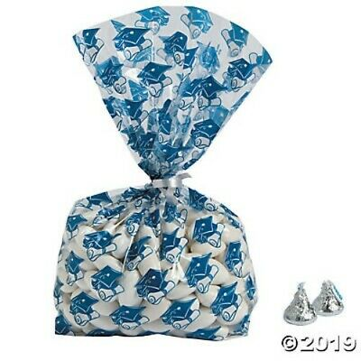 Graduation Favor Bags Goody Bags Blue Clear Decoration Favor Party Supplies (Clear Goodie Bags)
