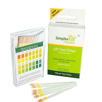 Simplex Health Alkaline pH Test Strips for Urine & Saliva (100 Strips per Pack)