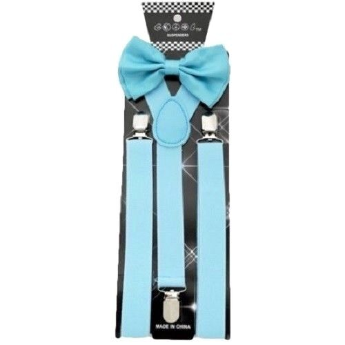 New Light Blue Bow Tie Suspender Set Formal Men Wedding  Usa Seller