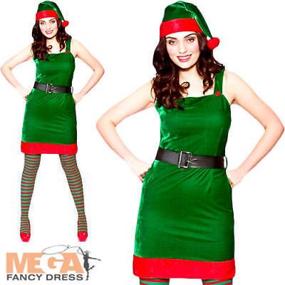 Santas Little Helper Ladies Fancy Dress Christmas Elf Adults Festive Costume
