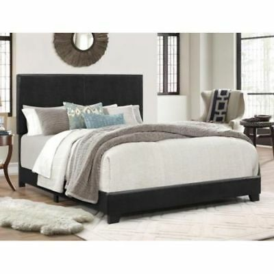 Bed Frame With Headboard Espresso Faux Leather Upholstery For Bedroom King Size ()