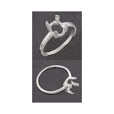 8x6mm Oval Ring Setting ((8x6mm) Oval Double Prong Sterling .925 Ring Setting (Ring Size 5,6 7, 8 ) )