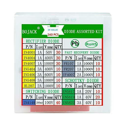 BOJACK 14 Value 240 pcs Diode Assortment Kit Contain Rectifier/Fast