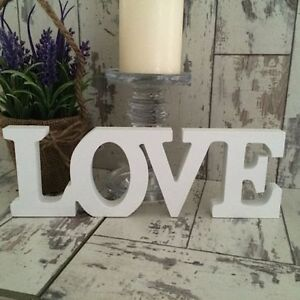 LARGE Wooden Shabby Cream Chic ~ LOVE ~ Sign Hanging Freestanding Letters Block