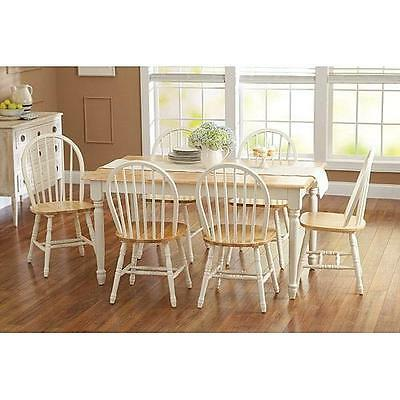 7 piece Farmhouse Dining Kitchen Set Table & 6 Windsor Chairs White and