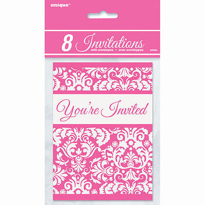 BRIDAL SHOWER Pink Damask INVITATIONS (8) ~ Wedding Party Supplies Stationery