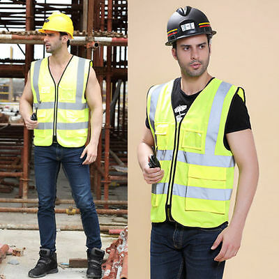 Construction Safety Vest Reflective Work Jacket Coat Security High Visibility