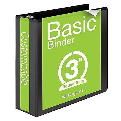 Wilson Jones 3 Ring Binder 3 Inch Round Ring View Binder Basic 362 Series Black