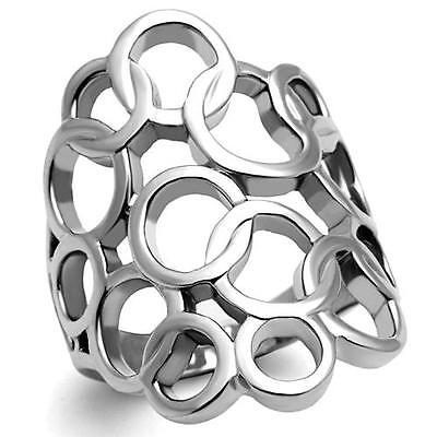 Women's Stainless Steel Bold Circle Wide Band Modern Unique Silver Tone Ring  - Circle Silver Tone Ring