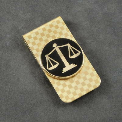 Scales of Justice Emblem Lawyer Courts Legal Judge Law Money Clip Gold NEW