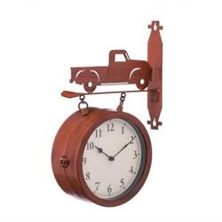 Red Truck 2 Sided Outdoor Wall Clock & Thermometer