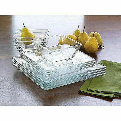 Dinnerware Sets Square (Dinnerware Set 12 Pcs Modern Square Thick Clear Glass Dinner Plates Bowls)