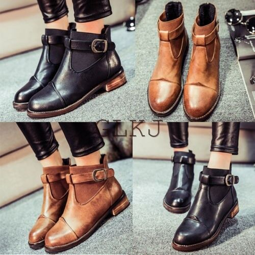 Women Leather Strap Ankle Buckle Short Martin Chelsea Boots Low Flat Heel Shoes