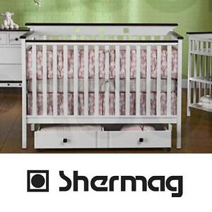 NEW SHERMAG BRIDGEPORT 4 IN 1 CRIB - 119654613 - CONVERTIBLE WHITE FINISH ROLLOUT TRUNDLE DRAWER CRIBS TRUNDLES BED B...
