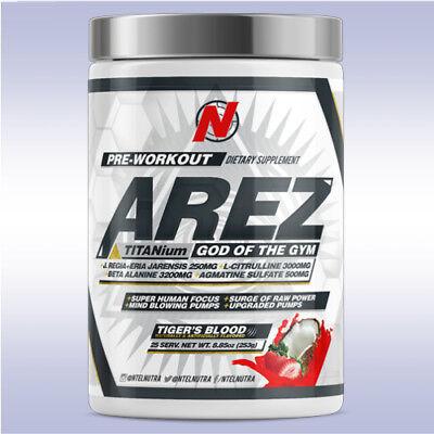 Ntel Pharma Arez Titanium  25 Servings  God Of Gym Nutra Mega White Pre Workout