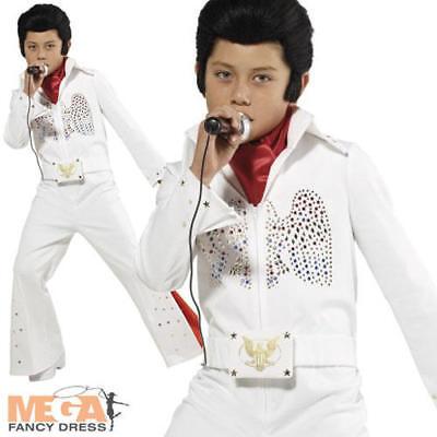 Elvis Boys Fancy Dress 1950s 60s Rock N Roll Celebrity Childs Kid Costume Outfit