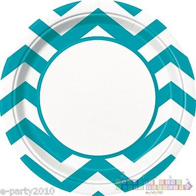 TEAL CHEVRON LARGE PAPER PLATES (8) ~ Baby Shower Birthday Party Supplies Lunch - Blue Chevron Paper Plates