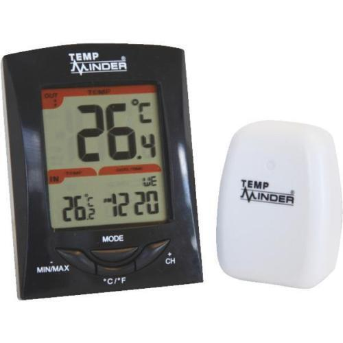 Temp Minder Wireless Indoor and Outdoor Thermometer w/Clock by Minder MRI-200HI