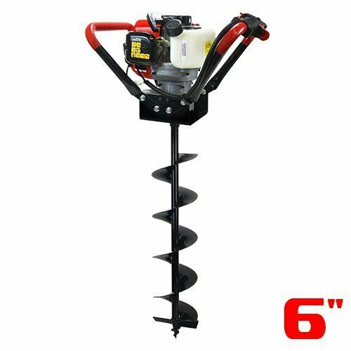 "55CC 2-Stroke Gas V-Type Post Hole Digger Auger Digger w/ 6"" Digging Bit Set"
