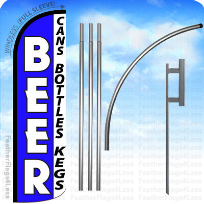 Beer Cans Bottles Kegs - Windless Swooper Flag Kit Feather Banner Sign - Bq