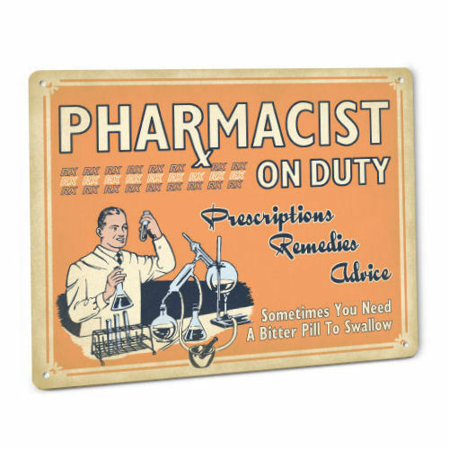 Pharmacy SIGN Pharmacist Vintage Drug Store Decor Male Apothecary In Uniform 199