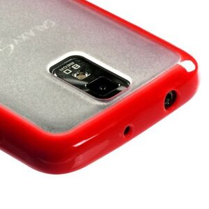 Samsung Galaxy S2 T989 T-Mobile -HARD RUBBER SILICONE GUMMY GEL CASE RED / CLEAR