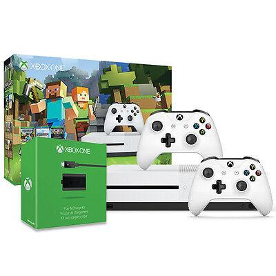 Xbox One S Minecraft 500GB Bundle + Xbox Wireless Controller + Play & Charge Kit