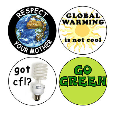 GO GREEN button set pins Eco Earth Day Recycle CFL global warming climate change