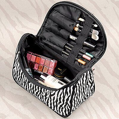 Black And White Makeup (Make Up Black and White Zebra Cosmetic Bag Container Pouch Portable Organizer)