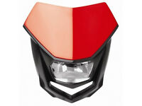 New Polisport Halo Headlight Enduro Road Legal Red Motorcycle