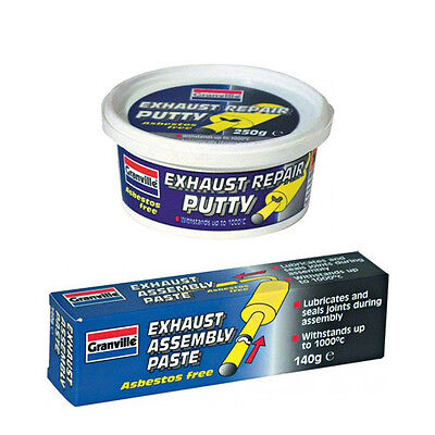 GRANVILLE EXHAUST SILENCER PIPE REPAIR PUTTY 250g + ASSEMBLY FIRE PASTE 140g KIT