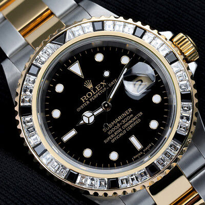 Rolex Submariner Two Tone 40mm Men's Watch with Custom Set Diamond Bezel 16613