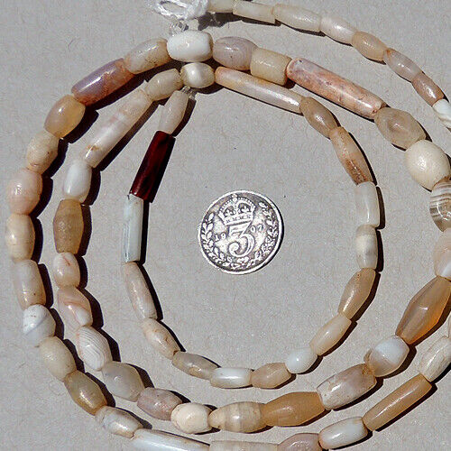 a strand of small ancient agate african stone beads mali #4140