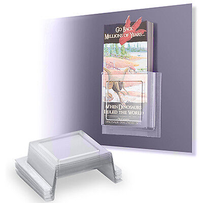 10 Tri Fold Literature Brochure Holders Peel Stick Fold-able Pocket Flyers