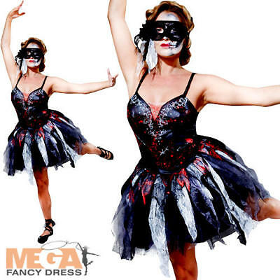 Dead Ballerina Costumes (Zombie Ballerina Ladies Fancy Dress Dead Dancer Adults Halloween Costume)