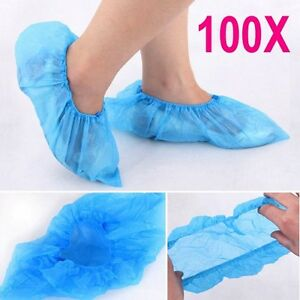 100-Disposable-Plastic-Anti-Slip-Shoe-Bag-Covers-Cleaning-Overshoes-Protective