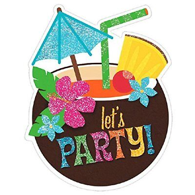 (Amscan Luau Large Novelty Glitter Party Invitation Cards, 8 Pieces, Made from Pa)