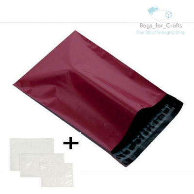 25 Mailing Bags & A7 Doc Wallets BURGUNDY  6.5