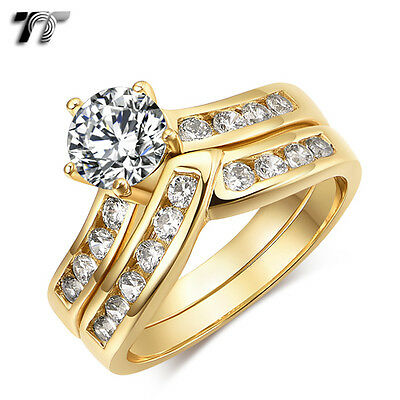 TT 18K Gold GP 1 Ct Main CZ Engagement Wedding Ring Set (RF123J) NEW 1ct Cz Engagement Ring