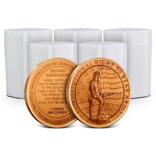 Lot of 100 - 1 oz Copper Rounds 2nd Amendment