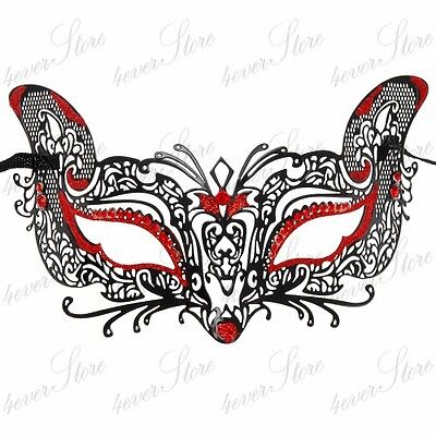 Cat Fox Halloween Costume Masquerade Mask for Women [Red Rhinestones & Glitters] - Fox Costumes For Halloween
