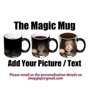 Personalised Colour Changing Coffee Mug Cup YOUR PHOTO & TEXT Magic Mug WOW