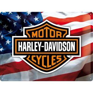 Targa-in-Latta-Vintage-Harley-Davidson-USA-Logo-30-x-40-in-metallo-stampato