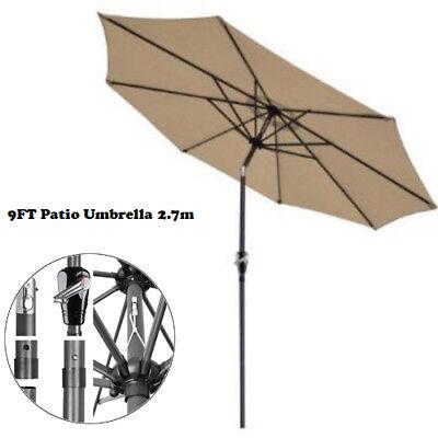 9FT Patio Umbrella Patio Market Steel Tilt W/ Crank Outdoor Yard Garden