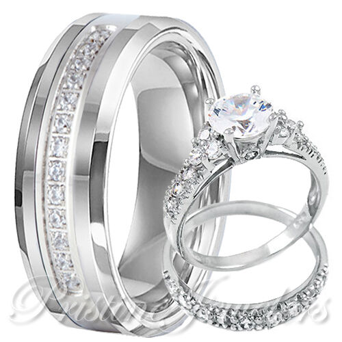 🔥 His Tungsten Band Hers 925 Sterling Silver Engagement Womens Wedding Ring Set
