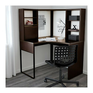 IKEA MICKE corner desk with add-on drawer unit