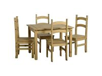 New Solid Corona Mexican Pine Dining table with 4 chairs Only £145 in stock