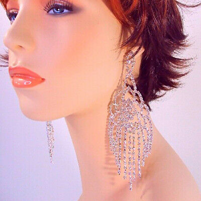 Rhinestone Chandelier Earrings Large 6 Inch Long Large Dangle Silver Glamour](Glamour Glasses)