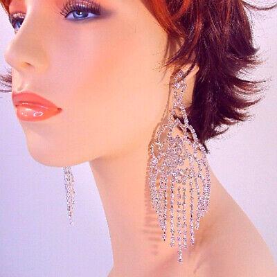 Rhinestone Chandelier Earrings Large 6 Inch Long Large Dangle Silver (Glamour Glasses)