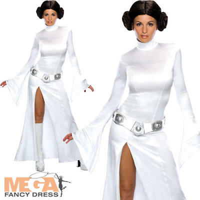 Sexy Princess Leia Star Wars Fancy Dress Ladies Costume Outfit + Wig UK 6-12 (Sexy Star Wars Outfits)